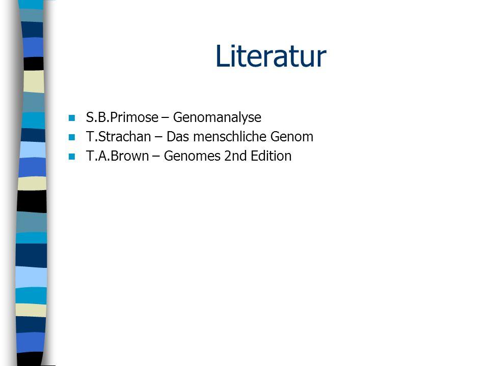 Literatur S.B.Primose – Genomanalyse T.Strachan – Das menschliche Genom T.A.Brown – Genomes 2nd Edition
