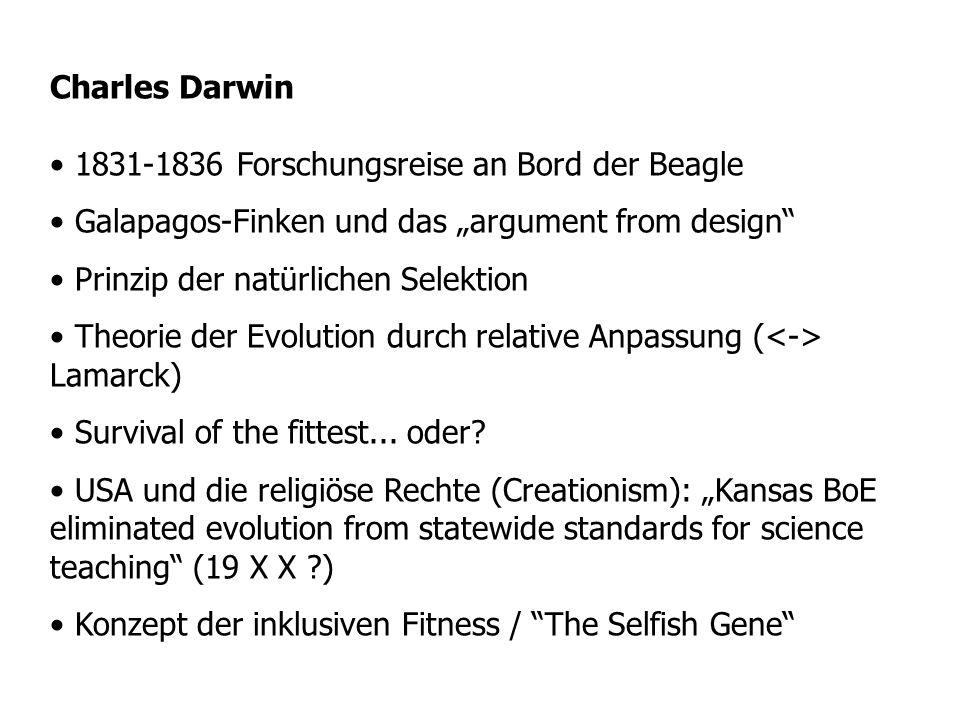 Charles Darwin 1831-1836 Forschungsreise an Bord der Beagle Galapagos-Finken und das argument from design Prinzip der natürlichen Selektion Theorie de