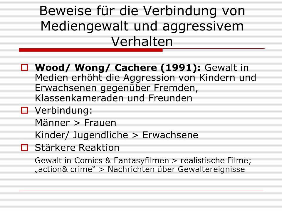 Beweise für die Verbindung von Mediengewalt und aggressivem Verhalten Wood/ Wong/ Cachere (1991): Gewalt in Medien erhöht die Aggression von Kindern u