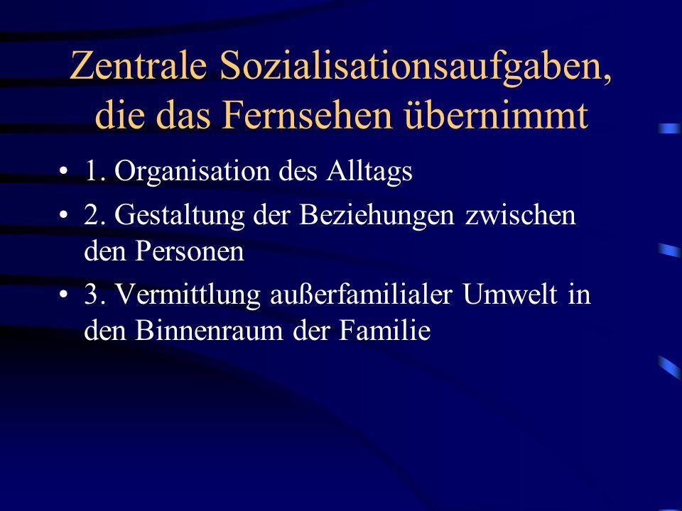Zentrale Sozialisationsaufgaben, die das Fernsehen übernimmt 1. Organisation des Alltags 2. Gestaltung der Beziehungen zwischen den Personen 3. Vermit