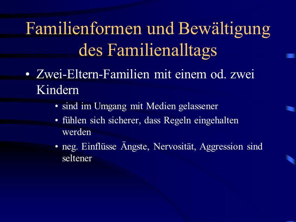 Familienformen und Bewältigung des Familienalltags Zwei-Eltern-Familien mit einem od. zwei Kindern sind im Umgang mit Medien gelassener fühlen sich si