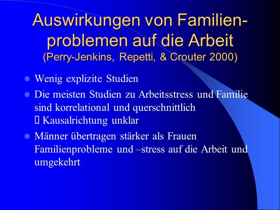 Auswirkungen von Arbeitsstress auf die Familie (Perry-Jenkins, Repetti, & Crouter 2000) Kein oder nur geringer Einfluss von globalen gemessenen Arbeitsstress auf das individuelle Wohlbefinden oder die Familie in heterogenen Populationen .
