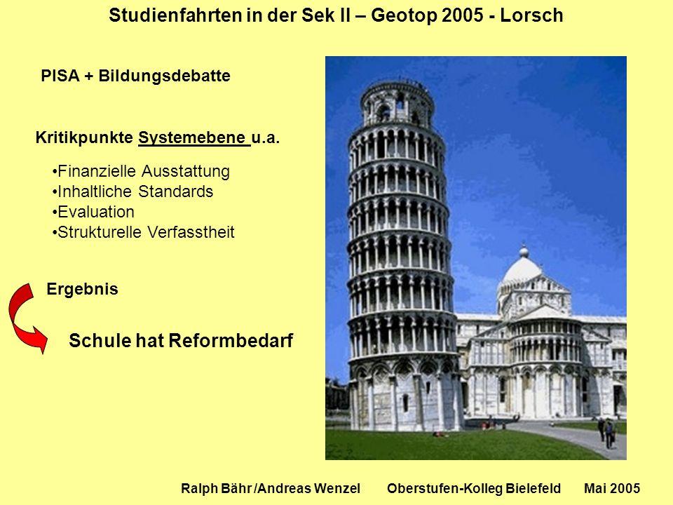 Studienfahrten in der Sek II – Geotop 2005 - Lorsch Ralph Bähr /Andreas Wenzel Oberstufen-Kolleg Bielefeld Mai 2005 PISA + Bildungsdebatte Finanzielle