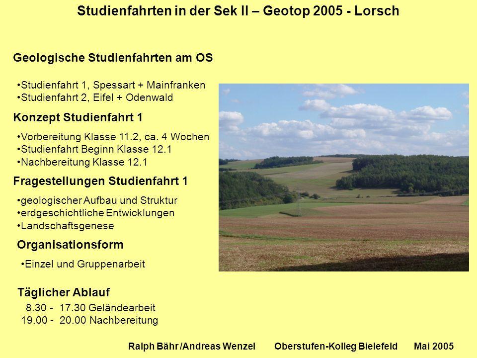 Studienfahrten in der Sek II – Geotop 2005 - Lorsch Geologische Studienfahrten am OS Studienfahrt 1, Spessart + Mainfranken Studienfahrt 2, Eifel + Od