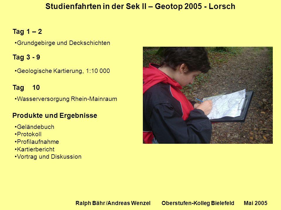 Studienfahrten in der Sek II – Geotop 2005 - Lorsch Ralph Bähr /Andreas Wenzel Oberstufen-Kolleg Bielefeld Mai 2005 Tag 1 – 2 Grundgebirge und Decksch