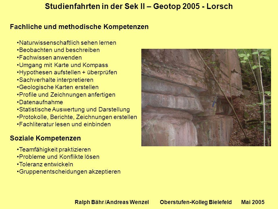 Studienfahrten in der Sek II – Geotop 2005 - Lorsch Ralph Bähr /Andreas Wenzel Oberstufen-Kolleg Bielefeld Mai 2005 Fachliche und methodische Kompeten
