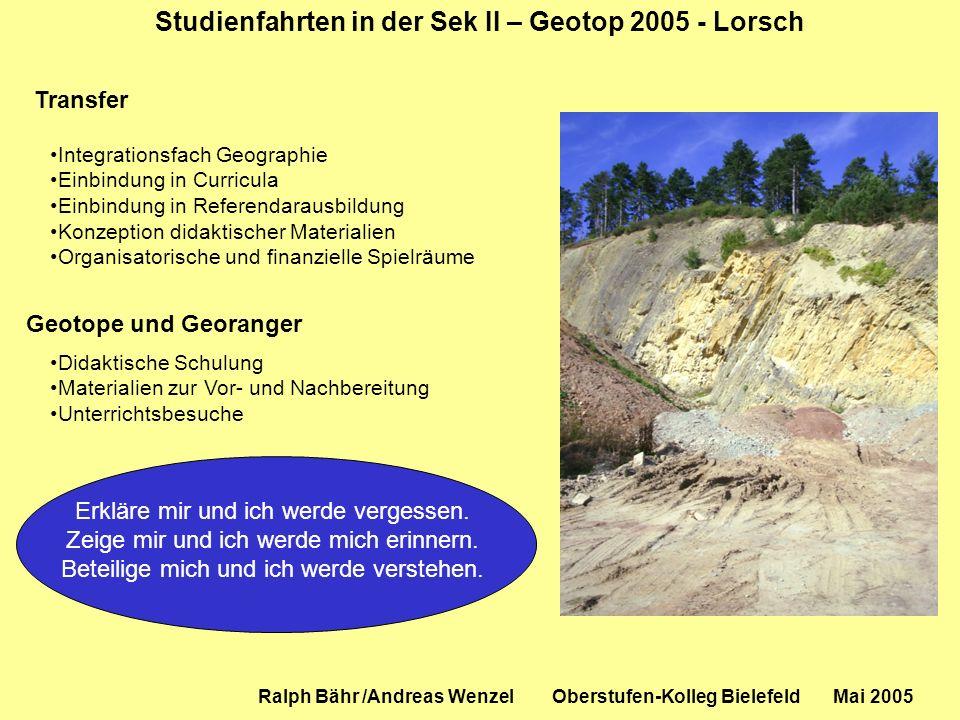 Studienfahrten in der Sek II – Geotop 2005 - Lorsch Ralph Bähr /Andreas Wenzel Oberstufen-Kolleg Bielefeld Mai 2005 Transfer Integrationsfach Geograph