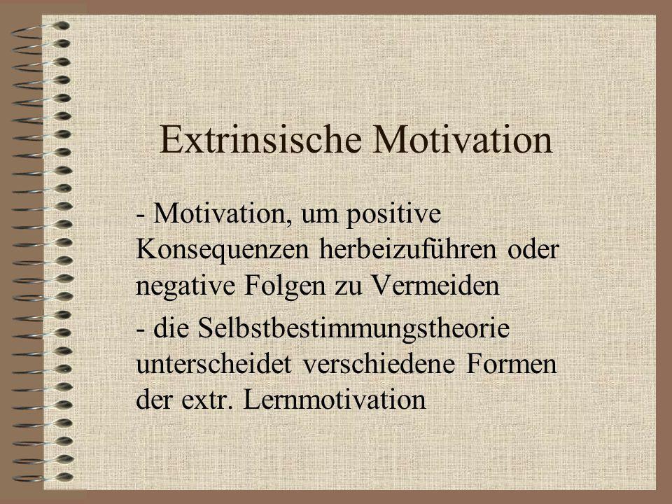 Extrinsische Motivation - Motivation, um positive Konsequenzen herbeizuführen oder negative Folgen zu Vermeiden - die Selbstbestimmungstheorie untersc