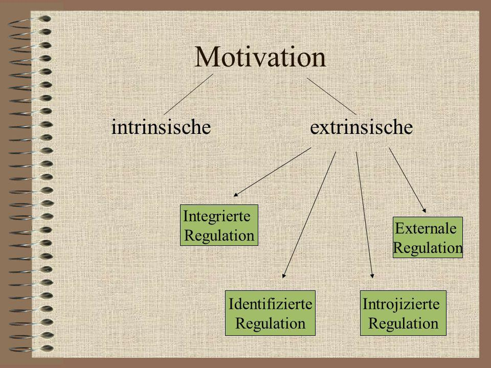 Motivation intrinsische extrinsische Integrierte Regulation Identifizierte Regulation Introjizierte Regulation Externale Regulation