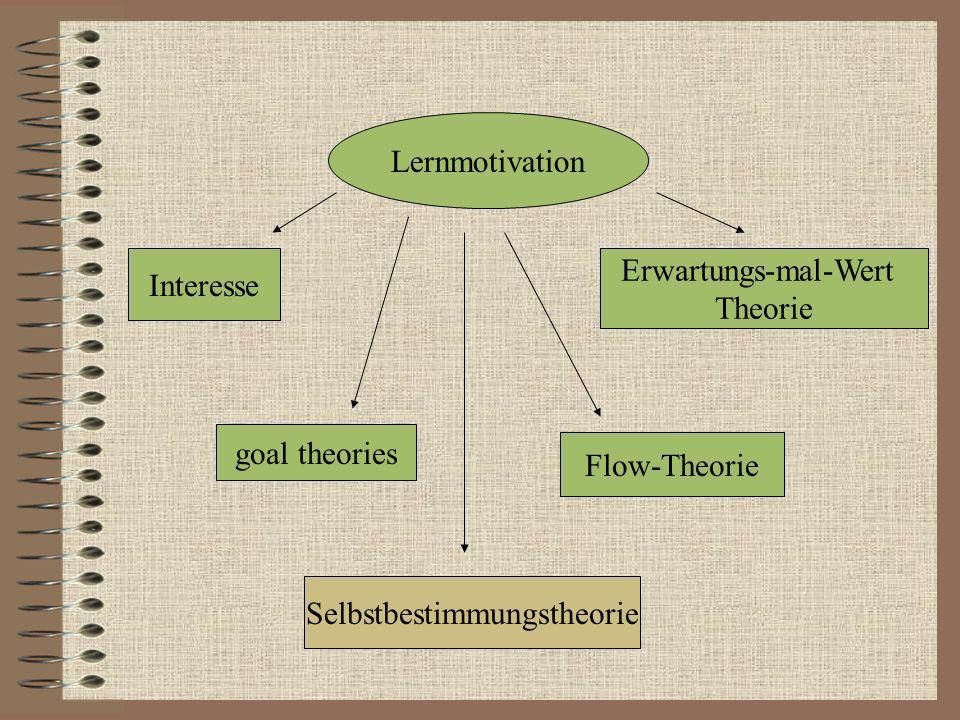 Lernmotivation Interesse Selbstbestimmungstheorie Flow-Theorie Erwartungs-mal-Wert Theorie goal theories
