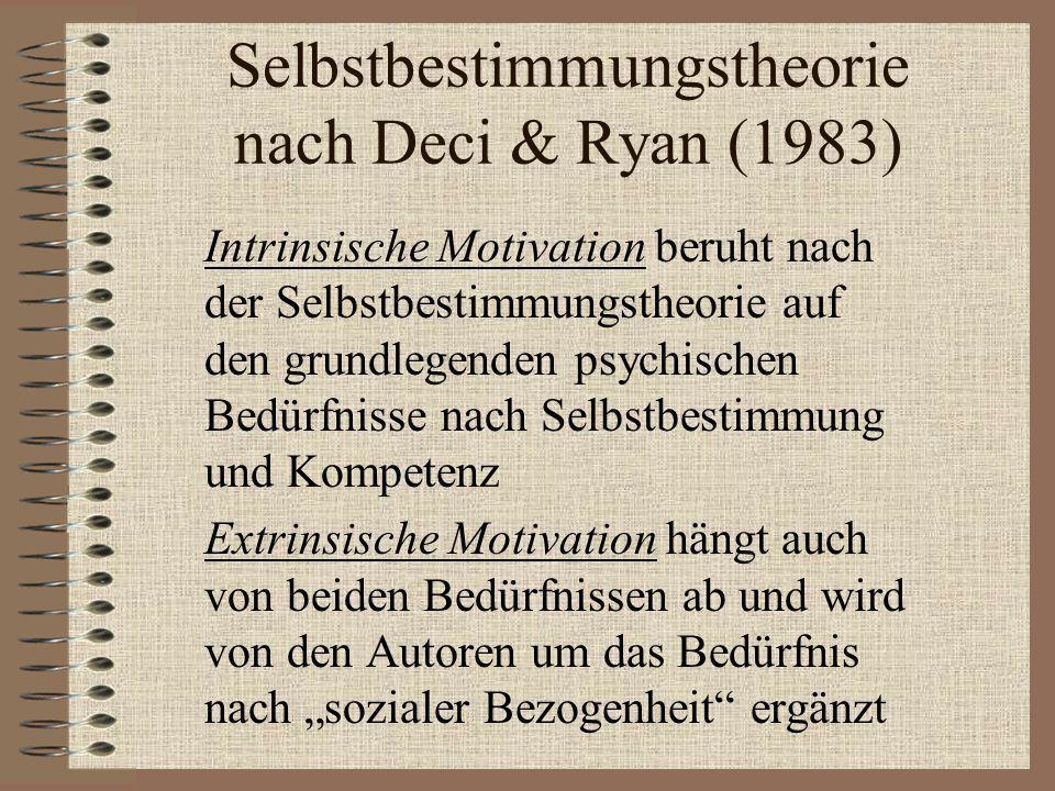 Selbstbestimmungstheorie nach Deci & Ryan (1983) Intrinsische Motivation beruht nach der Selbstbestimmungstheorie auf den grundlegenden psychischen Be