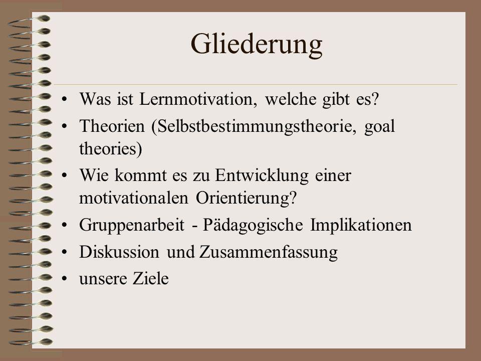 Gliederung Was ist Lernmotivation, welche gibt es? Theorien (Selbstbestimmungstheorie, goal theories) Wie kommt es zu Entwicklung einer motivationalen