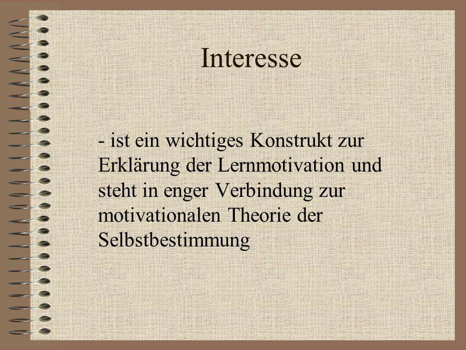 Interesse - ist ein wichtiges Konstrukt zur Erklärung der Lernmotivation und steht in enger Verbindung zur motivationalen Theorie der Selbstbestimmung