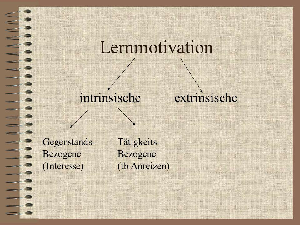 Lernmotivation intrinsische extrinsische Gegenstands- Bezogene (Interesse) Tätigkeits- Bezogene (tb Anreizen)