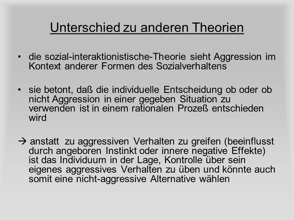 Unterschied zu anderen Theorien die sozial-interaktionistische-Theorie sieht Aggression im Kontext anderer Formen des Sozialverhaltens sie betont, daß