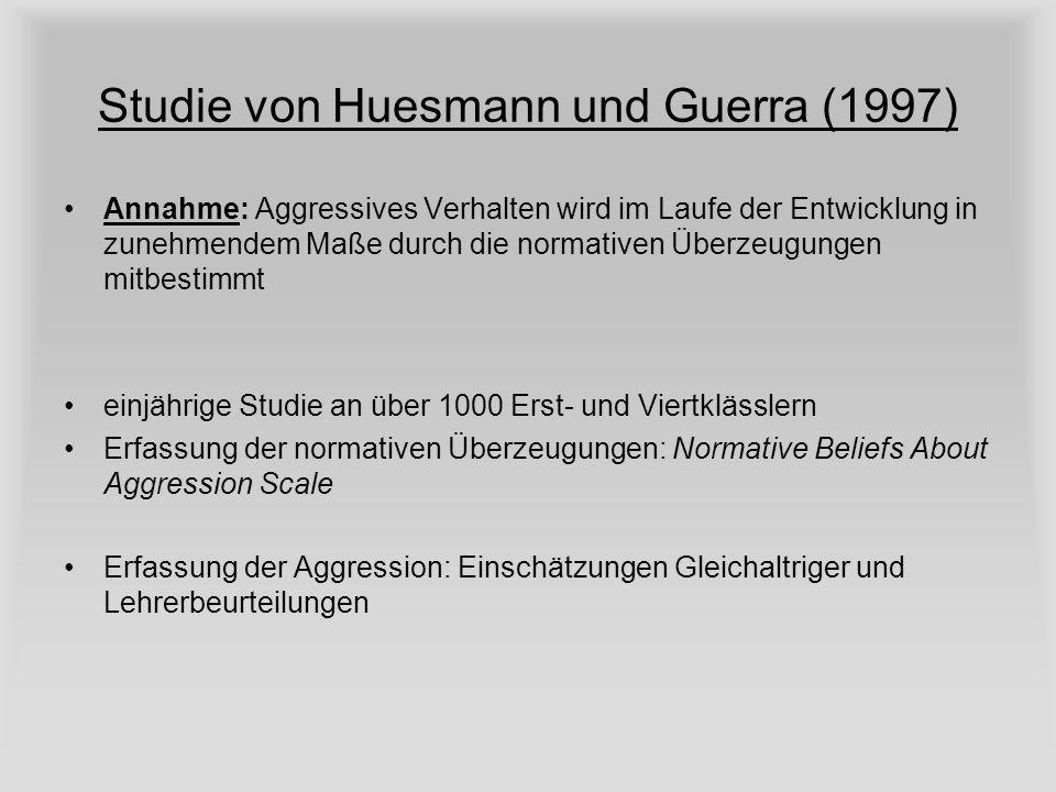 Studie von Huesmann und Guerra (1997) Annahme: Aggressives Verhalten wird im Laufe der Entwicklung in zunehmendem Maße durch die normativen Überzeugun