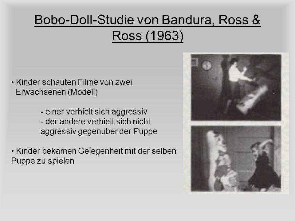 Bobo-Doll-Studie von Bandura, Ross & Ross (1963) Kinder schauten Filme von zwei Erwachsenen (Modell) - einer verhielt sich aggressiv - der andere verh