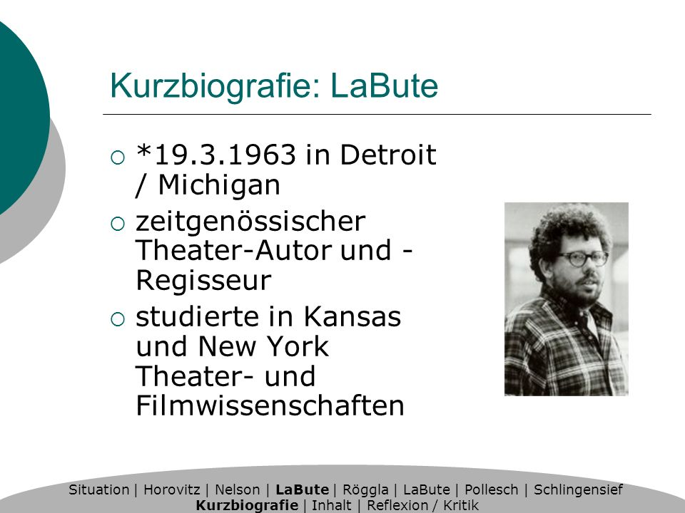 Kurzbiografie: LaBute *19.3.1963 in Detroit / Michigan zeitgenössischer Theater-Autor und - Regisseur studierte in Kansas und New York Theater- und Filmwissenschaften Situation | Horovitz | Nelson | LaBute | Röggla | LaBute | Pollesch | Schlingensief Kurzbiografie | Inhalt | Reflexion / Kritik