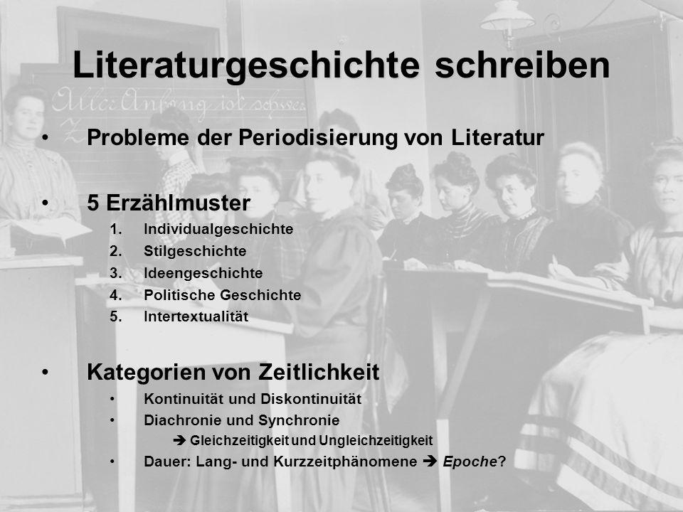 Literaturgeschichte schreiben Probleme der Periodisierung von Literatur 5 Erzählmuster 1.Individualgeschichte 2.Stilgeschichte 3.Ideengeschichte 4.Pol