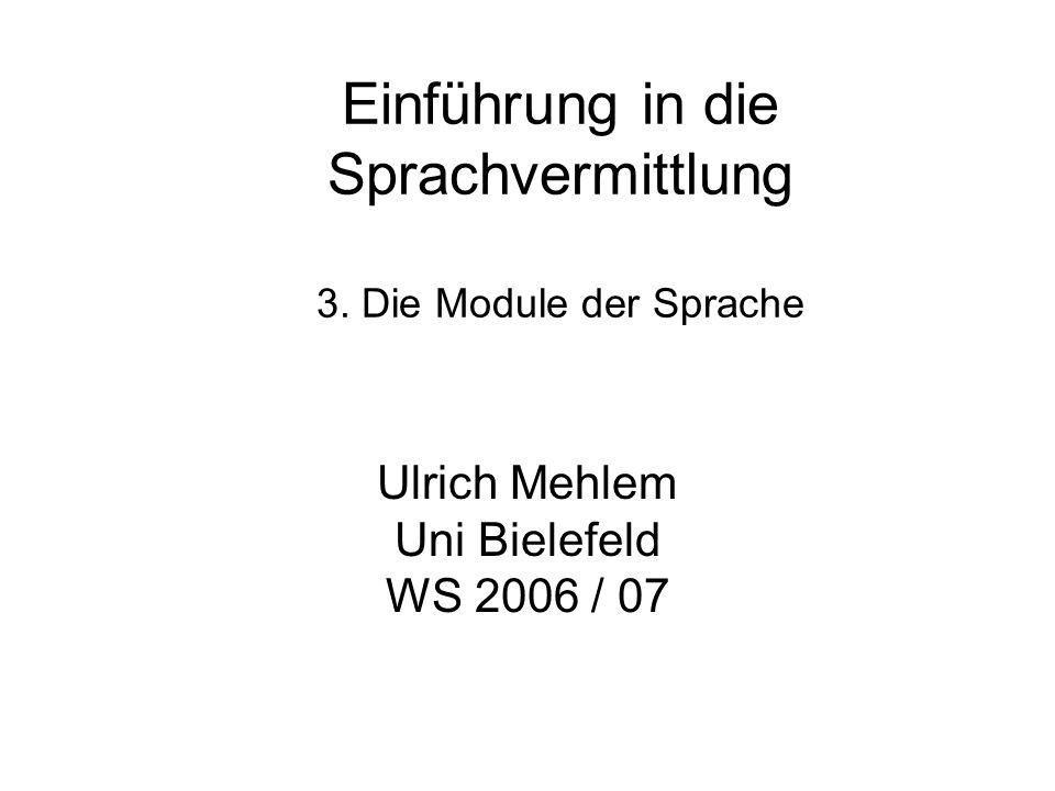Einführung in die Sprachvermittlung 3. Die Module der Sprache Ulrich Mehlem Uni Bielefeld WS 2006 / 07