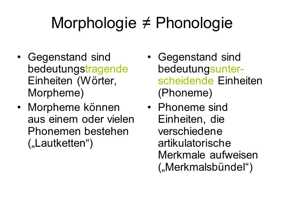 Morphologie Phonologie Gegenstand sind bedeutungstragende Einheiten (Wörter, Morpheme) Morpheme können aus einem oder vielen Phonemen bestehen (Lautke