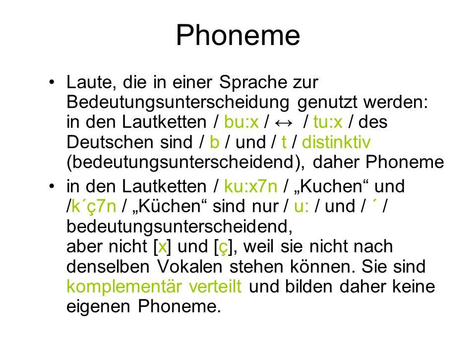 Phoneme Laute, die in einer Sprache zur Bedeutungsunterscheidung genutzt werden: in den Lautketten / bu:x / / tu:x / des Deutschen sind / b / und / t