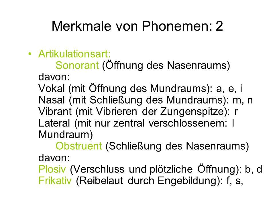Merkmale von Phonemen: 2 Artikulationsart: Sonorant (Öffnung des Nasenraums) davon: Vokal (mit Öffnung des Mundraums): a, e, i Nasal (mit Schließung d