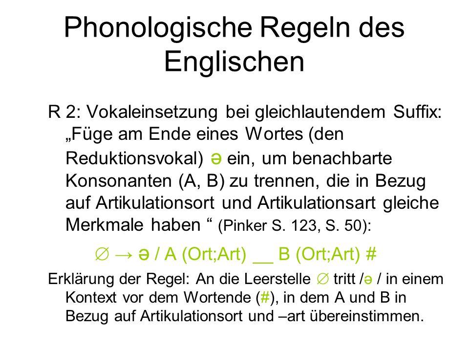 Phonologische Regeln des Englischen R 2: Vokaleinsetzung bei gleichlautendem Suffix: Füge am Ende eines Wortes (den Reduktionsvokal) ә ein, um benachb