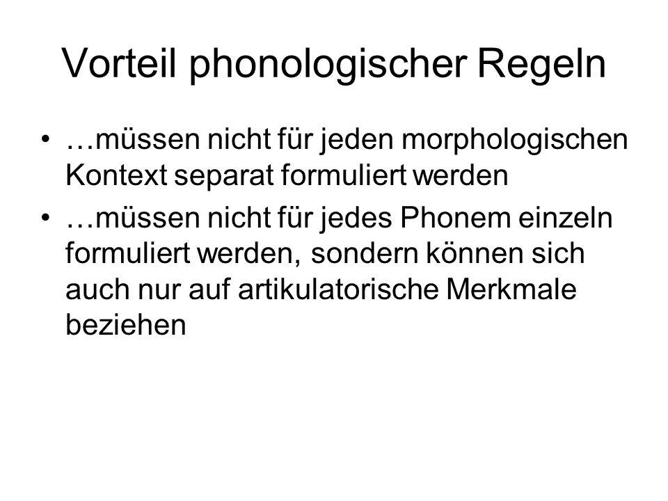 Vorteil phonologischer Regeln …müssen nicht für jeden morphologischen Kontext separat formuliert werden …müssen nicht für jedes Phonem einzeln formuli