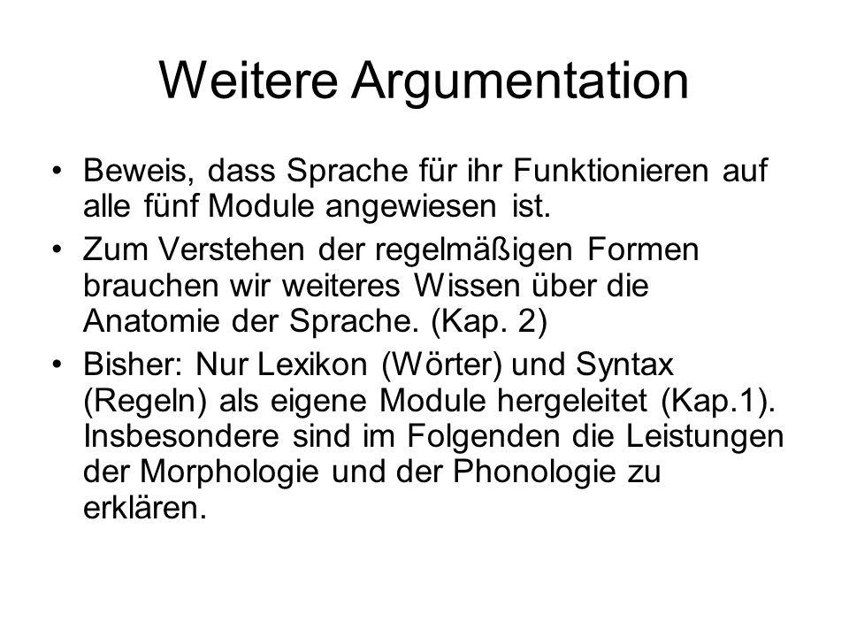 Weitere Argumentation Beweis, dass Sprache für ihr Funktionieren auf alle fünf Module angewiesen ist. Zum Verstehen der regelmäßigen Formen brauchen w