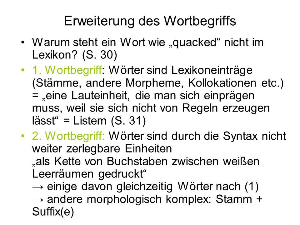 Erweiterung des Wortbegriffs Warum steht ein Wort wie quacked nicht im Lexikon? (S. 30) 1. Wortbegriff: Wörter sind Lexikoneinträge (Stämme, andere Mo
