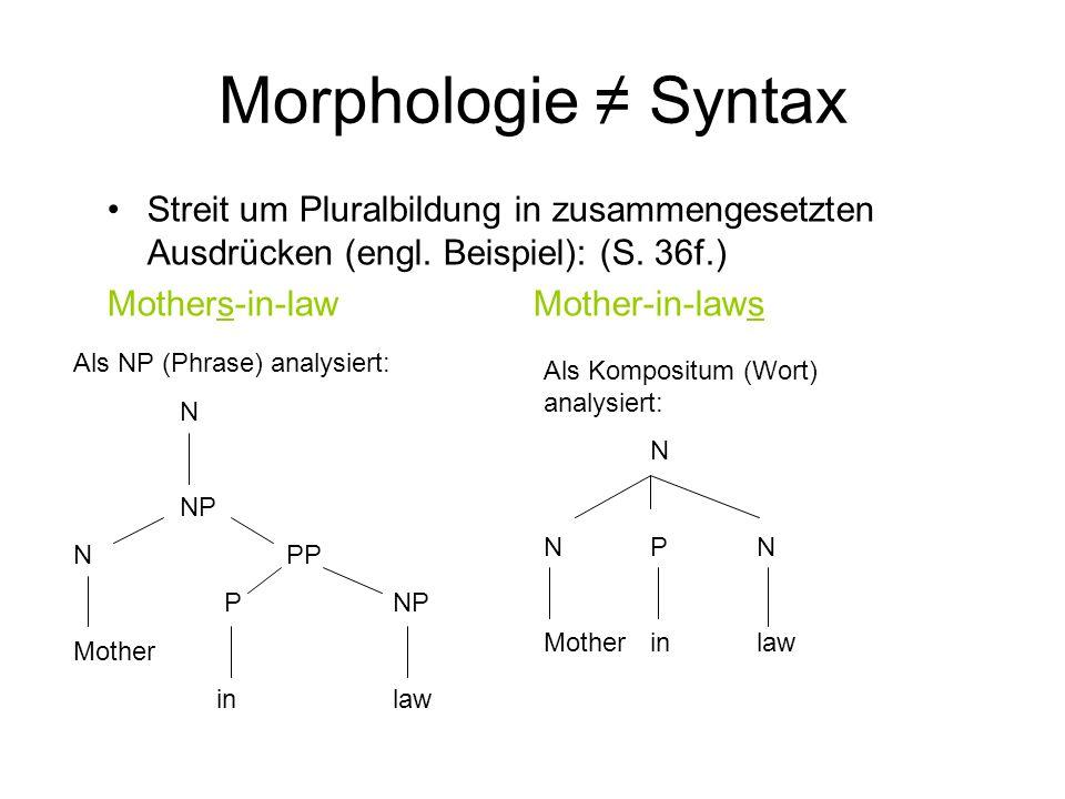 Morphologie Syntax Streit um Pluralbildung in zusammengesetzten Ausdrücken (engl. Beispiel): (S. 36f.) Mothers-in-lawMother-in-laws Als NP (Phrase) an