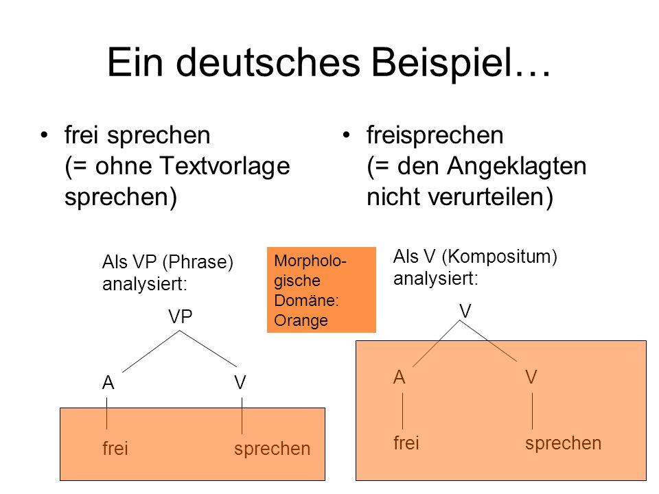 Ein deutsches Beispiel… frei sprechen (= ohne Textvorlage sprechen) freisprechen (= den Angeklagten nicht verurteilen) Als VP (Phrase) analysiert: VP