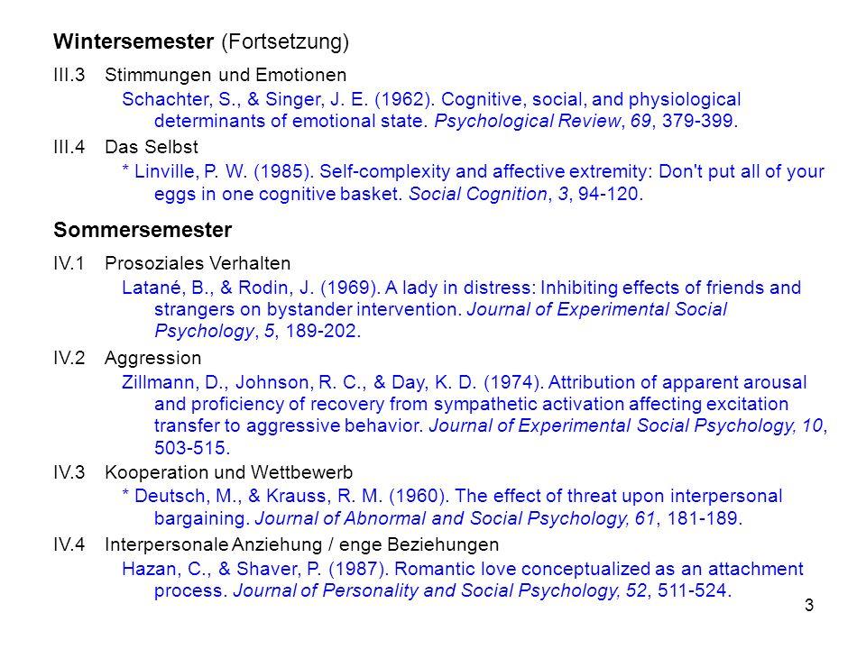 4 Sommersemester (Fortsetzung) V.1Sozialer Einfluss in Gruppen Moscovici, S., Lage, E., & Naffrechoux, M.