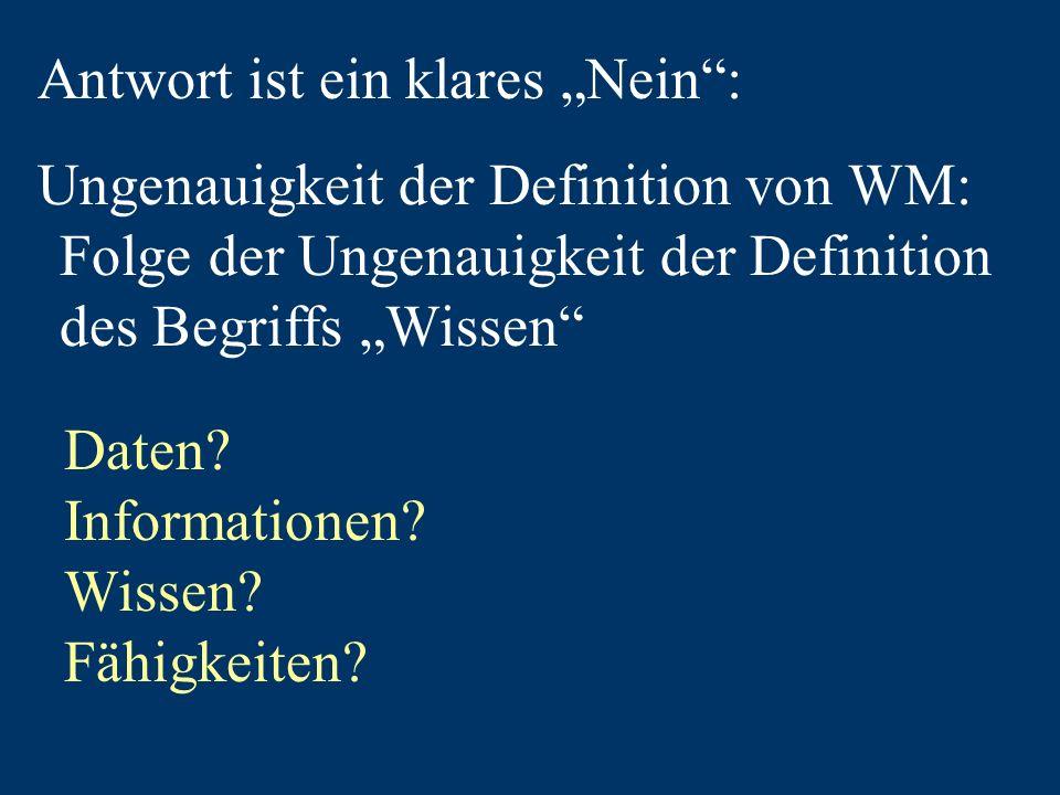 Antwort ist ein klares Nein: Ungenauigkeit der Definition von WM: Folge der Ungenauigkeit der Definition des Begriffs Wissen Daten.