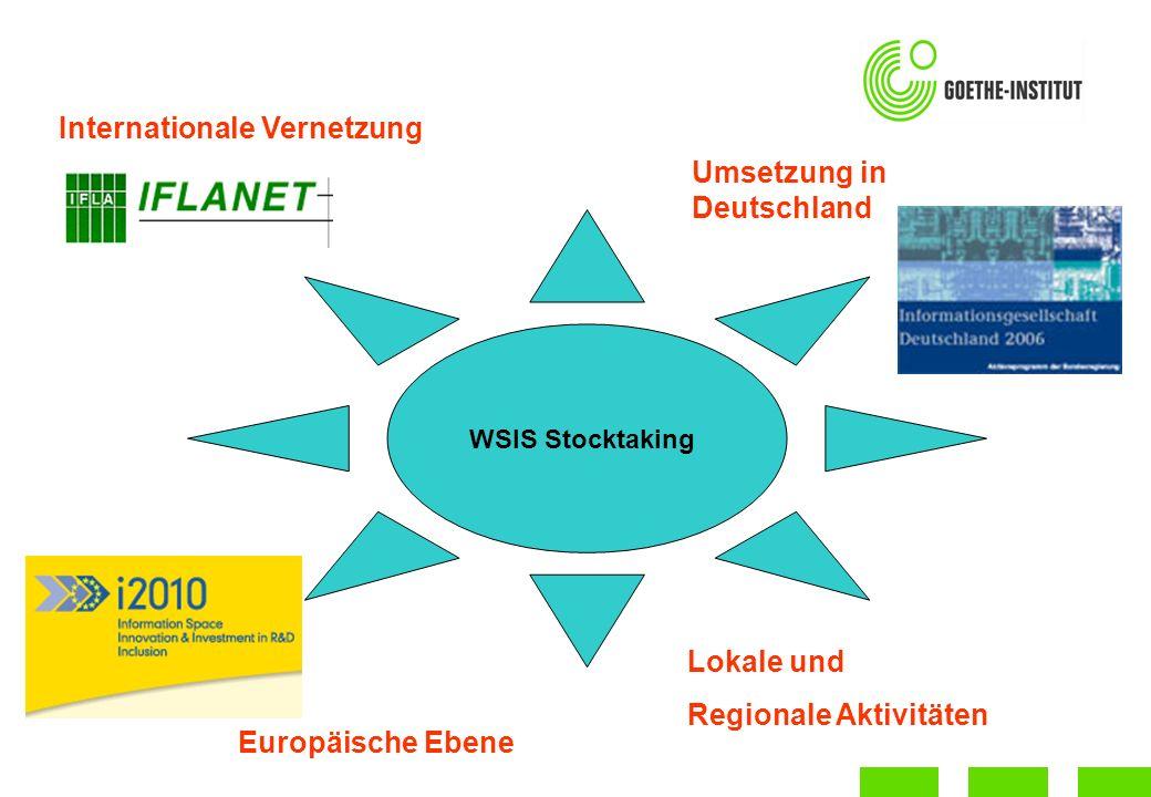 WSIS Stocktaking Umsetzung in Deutschland Europäische Ebene Lokale und Regionale Aktivitäten Internationale Vernetzung
