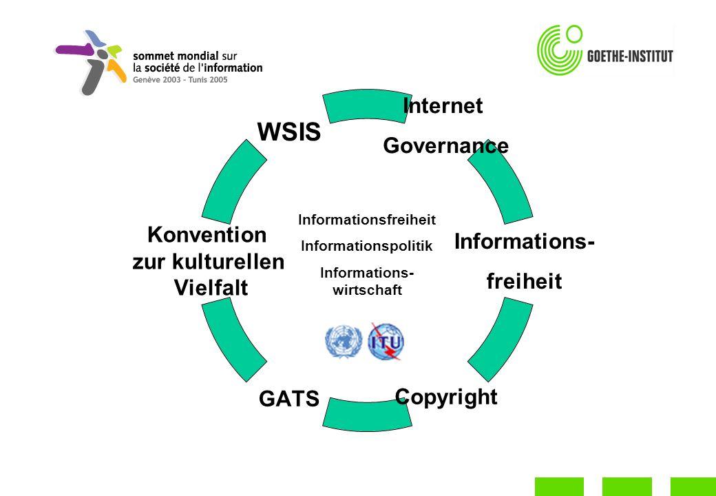 Internet Governance Informations- freiheit CopyrightGATS Konvention zur kulturellen Vielfalt WSIS Informationsfreiheit Informationspolitik Informations- wirtschaft