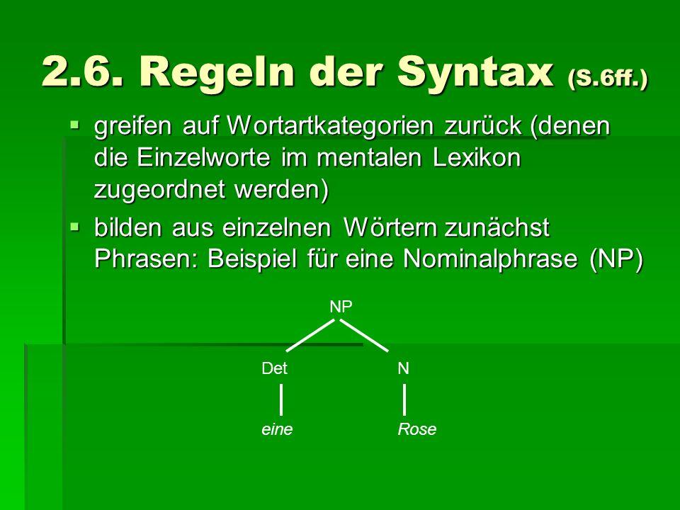 2.6. Regeln der Syntax (S.6ff.) greifen auf Wortartkategorien zurück (denen die Einzelworte im mentalen Lexikon zugeordnet werden) greifen auf Wortart
