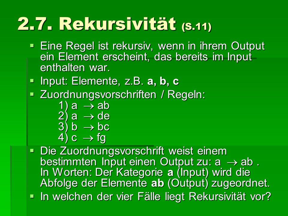 2.7. Rekursivität (S.11) Eine Regel ist rekursiv, wenn in ihrem Output ein Element erscheint, das bereits im Input enthalten war. Eine Regel ist rekur