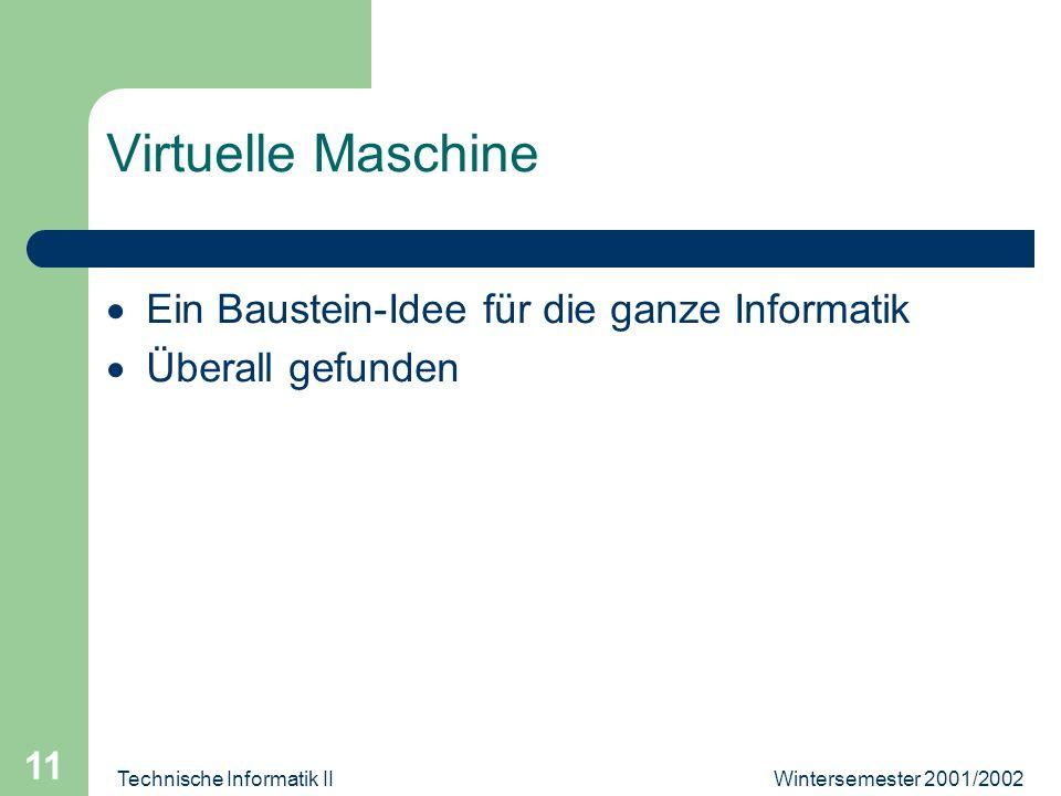 Wintersemester 2001/2002Technische Informatik II 11 Virtuelle Maschine Ein Baustein-Idee für die ganze Informatik Überall gefunden