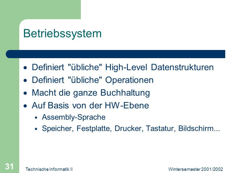Wintersemester 2001/2002Technische Informatik II 31 Betriebssystem Definiert