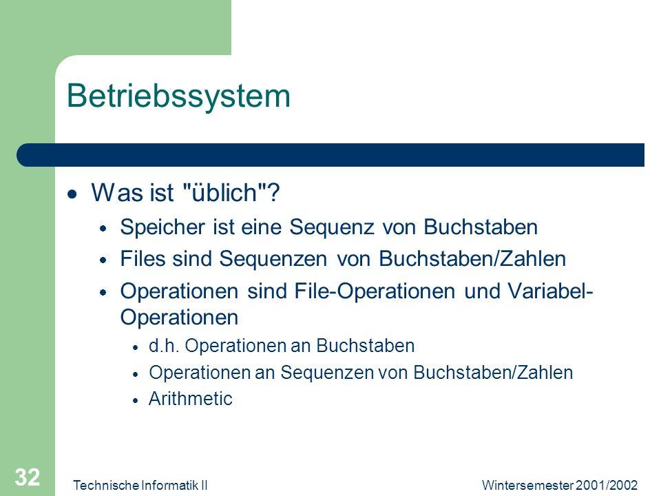 Wintersemester 2001/2002Technische Informatik II 32 Betriebssystem Was ist