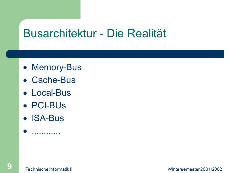 Wintersemester 2001/2002Technische Informatik II 9 Busarchitektur - Die Realität Memory-Bus Cache-Bus Local-Bus PCI-BUs ISA-Bus............