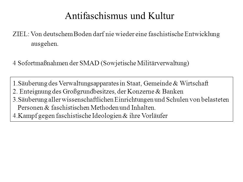Antifaschismus und Kultur 1.Säuberung des Verwaltungsapparates in Staat, Gemeinde & Wirtschaft 2.