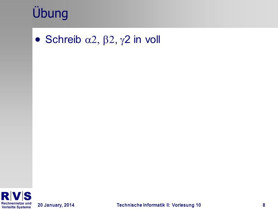20 January, 2014Technische Informatik II: Vorlesung 1019 Algorithmen für zweier Mutex V3 P1:loop flag[1] = 1; turn = a; while flag[1]=1 and turn=a do wait; ; flag[1] = 0 endloop