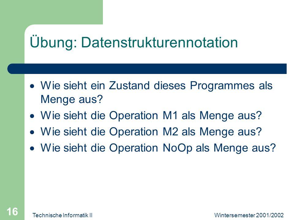 Wintersemester 2001/2002Technische Informatik II 16 Übung: Datenstrukturennotation Wie sieht ein Zustand dieses Programmes als Menge aus.