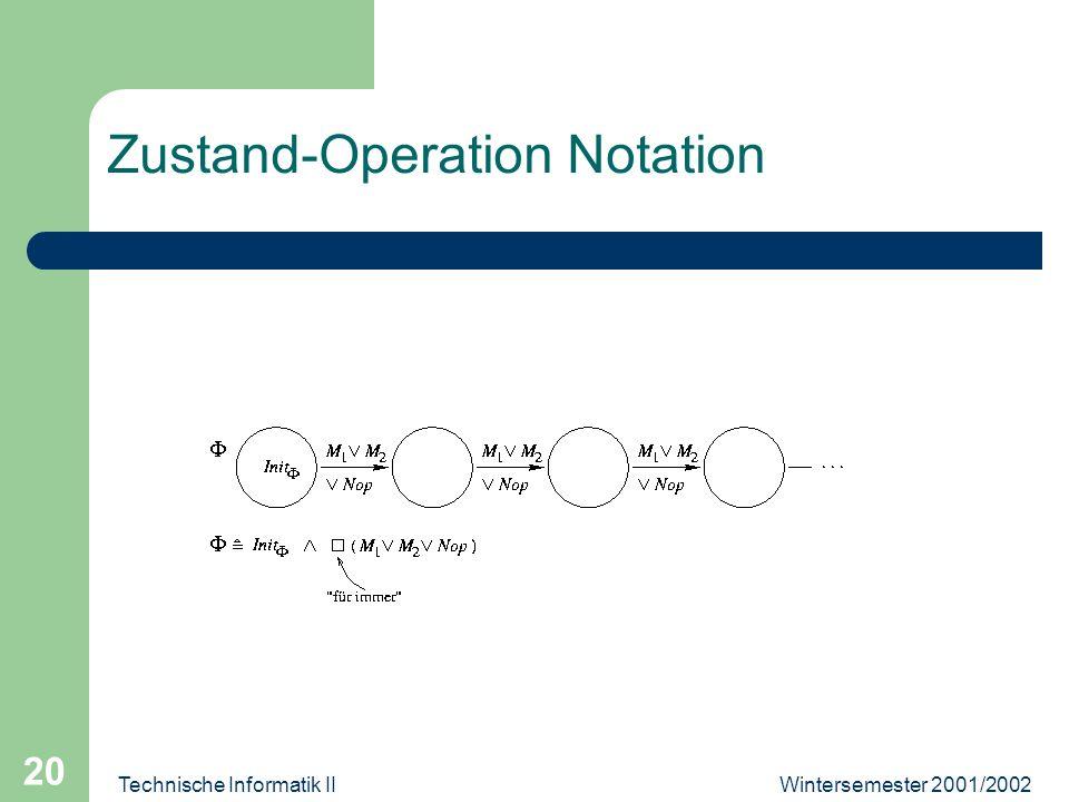 Wintersemester 2001/2002Technische Informatik II 20 Zustand-Operation Notation