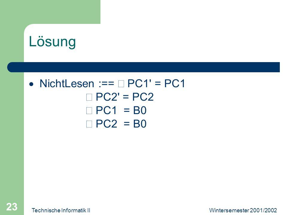 Wintersemester 2001/2002Technische Informatik II 23 Lösung NichtLesen :== PC1' = PC1 PC2' = PC2 PC1 = B0 PC2 = B0