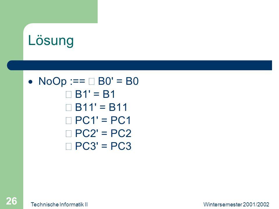 Wintersemester 2001/2002Technische Informatik II 26 Lösung NoOp :== B0' = B0 B1' = B1 B11' = B11 PC1' = PC1 PC2' = PC2 PC3' = PC3