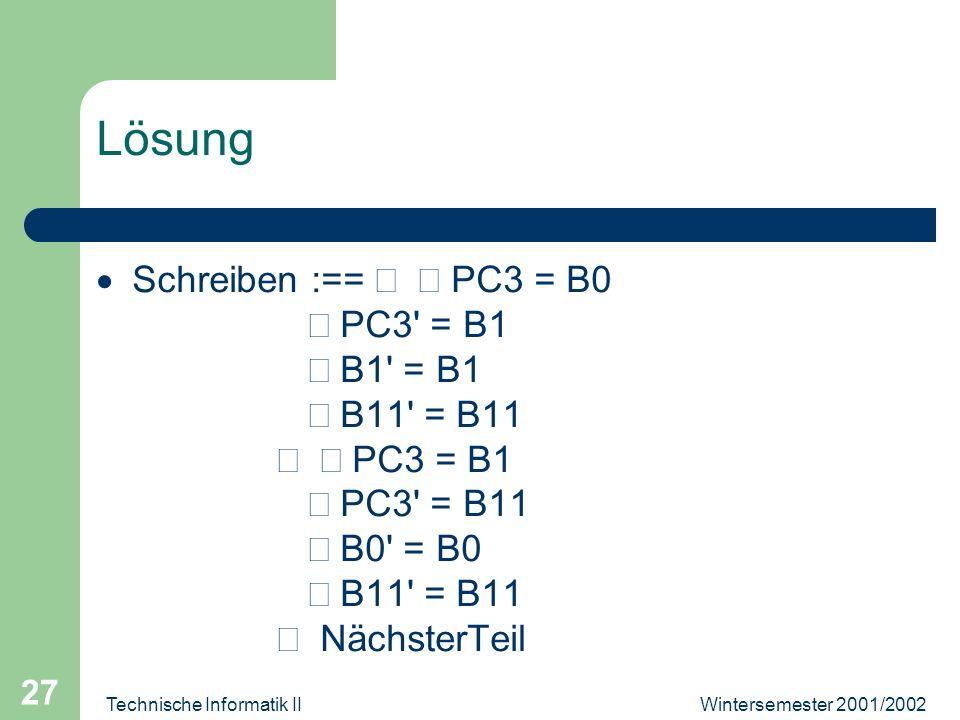 Wintersemester 2001/2002Technische Informatik II 27 Lösung Schreiben :== PC3 = B0 PC3' = B1 B1' = B1 B11' = B11 PC3 = B1 PC3' = B11 B0' = B0 B11' = B1